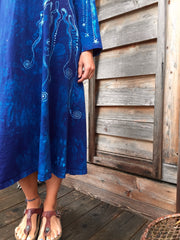 Blue Tree of Life Long Sleeve Batik Dress - Batikwalla   - 2