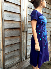Deep Blue and Purple Moon Burst - Short Sleeve Batik Dress - Batikwalla   - 7