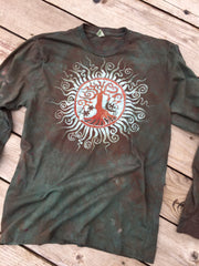 The Earth Is Magic Tree of Life Long Sleeve Batik Mens Tshirt - Size Large - Batikwalla   - 1