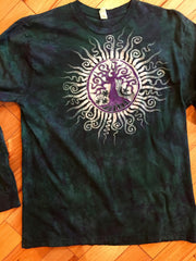 Teal and Purple Tree of Life Long Sleeve Batik Mens Tshirt - Size XL - Batikwalla   - 2