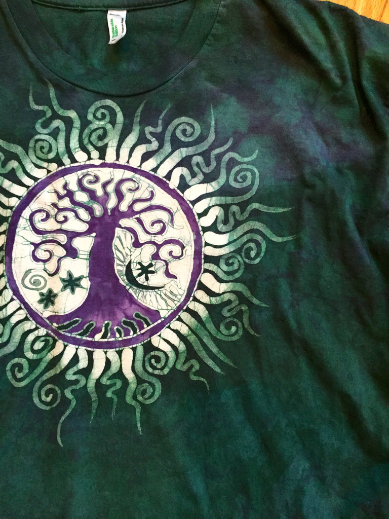 Teal and Purple Tree of Life Batik Mens Long Sleeve Tshirt - Size 2X - Batikwalla   - 1