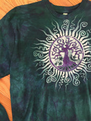 Teal and Purple Tree of Life Long Sleeve Batik Mens Tshirt - Size XL - Batikwalla   - 1