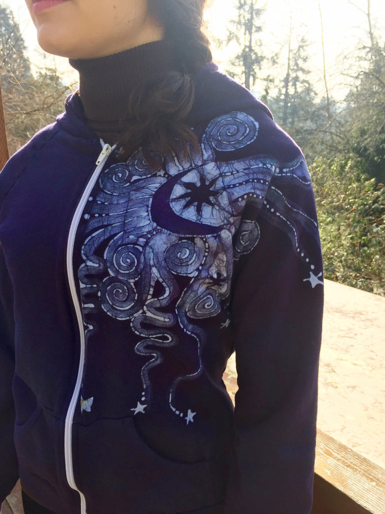 Purple and Navy Blue Batik Star Hoodie - Fitted XL - Batikwalla   - 1
