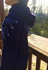 Purple and Navy Blue Batik Star Hoodie - Fitted XL - Batikwalla   - 2