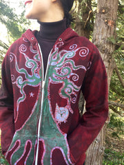 Owls In A Red Rose Forest Organic Cotton Batik Hoodie - Unisex Small - Batikwalla   - 3