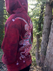 Owls In A Red Rose Forest Organic Cotton Batik Hoodie - Unisex Small - Batikwalla   - 4