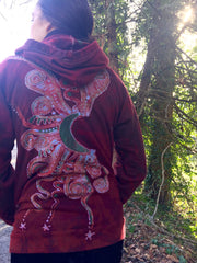 Owls In A Red Rose Forest Organic Cotton Batik Hoodie - Unisex Small - Batikwalla   - 5