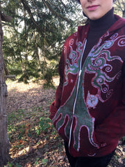 Owls In A Red Rose Forest Organic Cotton Batik Hoodie - Unisex Small - Batikwalla   - 7
