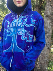 Owls In A Tree Light Purple Organic Cotton Batik Hoodie - Batikwalla   - 1