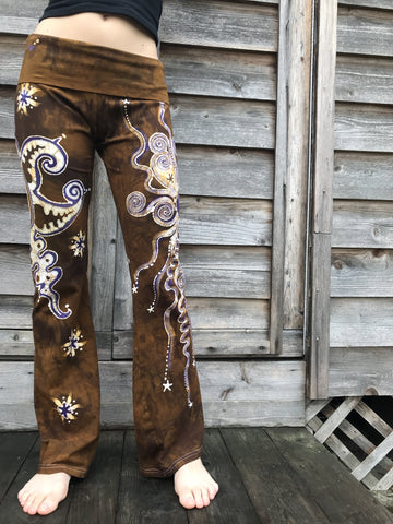 Golden Sun With Lavender Stars Handmade Batikwalla Yoga Pants - Size Large