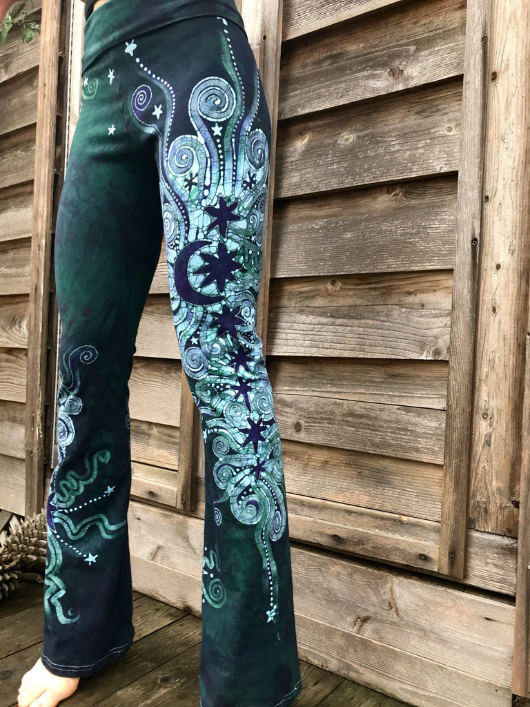 Teal Moon and Twinkling Stars Handmade Batikwalla Yoga Pants - Size Large