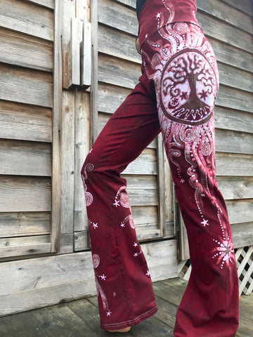 Red Tree Mandala Handmade Batikwalla Yoga Pants