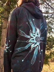 Teal and Steel Sun Tree Organic Cotton Batik Hoodie - Batikwalla   - 4