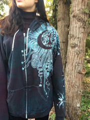 Teal and Steel Sun Tree Organic Cotton Batik Hoodie - Batikwalla   - 3