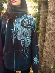 Teal and Steel Sun Tree Organic Cotton Batik Hoodie - Batikwalla   - 2