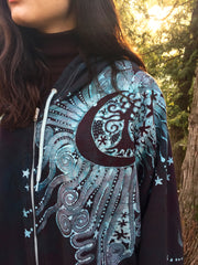 Teal and Steel Sun Tree Organic Cotton Batik Hoodie - Batikwalla   - 1