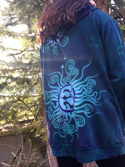 Teal and Purple Tree Moon Organic Cotton Batik Hoodie - Batikwalla   - 3