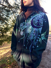 Teal and Purple Tree Moon Organic Cotton Batik Hoodie - Batikwalla   - 4