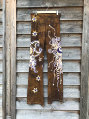 Golden Sun With Lavender Stars Handmade Batikwalla Yoga Pants