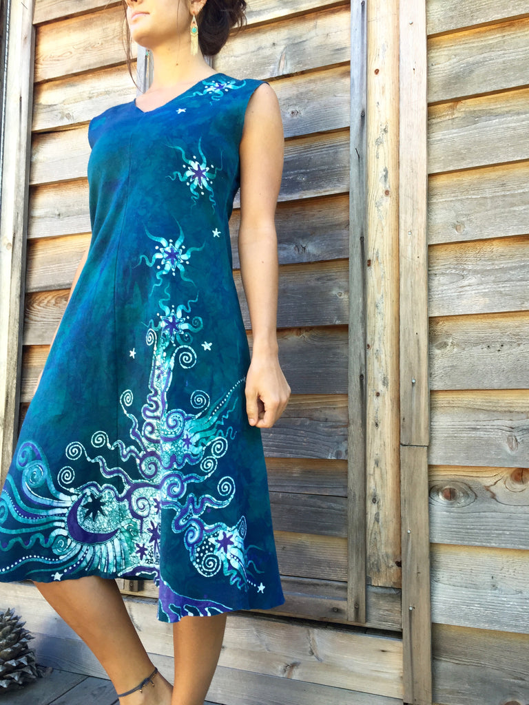 Teal and Purple Tree in the Forest of Life Organic Cotton Batik Dress - Batikwalla   - 1