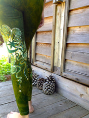 Dancing Green Batik Leggings - In Stock - Size XL - Batikwalla   - 4