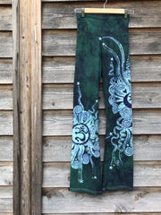 Teal and Purple Om Handmade Batikwalla Yoga Pants - Size Small / Long