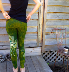 Dancing Green Batik Leggings - In Stock - Size XL - Batikwalla   - 3