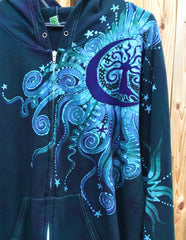 Teal and Purple Tree Moon Organic Cotton Batik Hoodie - Batikwalla   - 6