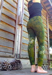 Dancing Green Batik Leggings - In Stock - Size XL - Batikwalla   - 2