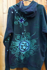 Teal and Purple Tree Moon Organic Cotton Batik Hoodie - Batikwalla   - 7