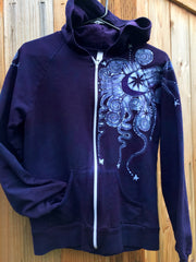 Purple and Navy Blue Batik Star Hoodie - Fitted XL - Batikwalla   - 5