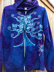 Owls In A Tree Light Purple Organic Cotton Batik Hoodie - Batikwalla   - 8