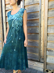 Sage Under the Moonlight Handmade Batik Dress - Batikwalla   - 3