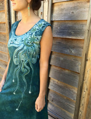 Sage Under the Moonlight Handmade Batik Dress - Batikwalla   - 5