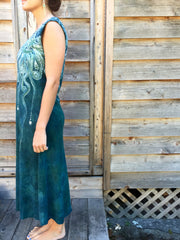 Sage Under the Moonlight Handmade Batik Dress - Batikwalla   - 4