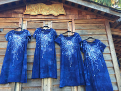 Periwinkle Moon Burst - Short Sleeve Batik Dress - Batikwalla   - 5