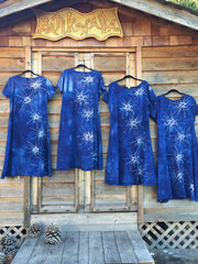 Periwinkle Moon Burst - Short Sleeve Batik Dress - Batikwalla   - 6