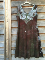 Moonlight Moss Tree of Life Organic Cotton Batik Dress - Batikwalla   - 4