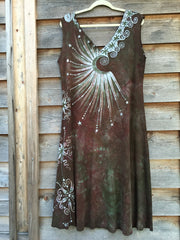 Moonlight Moss Tree of Life Organic Cotton Batik Dress - Batikwalla   - 5