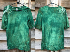Mossy Green Shoulder Swirls Sale Basket Top - Size Small