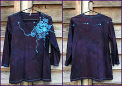 Midnight Blue and Purple Moon Star Batik - 3/4 Sleeve Top