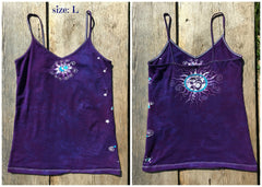 Purple and Turquoise Om Stretchy Batik Vneck Tanktop - Batikwalla   - 6