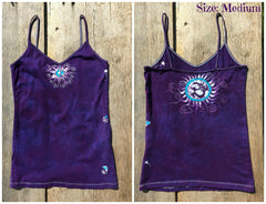 Purple and Turquoise Om Stretchy Batik Vneck Tanktop - Batikwalla   - 5