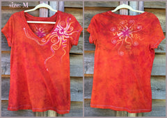 Brilliant Orange Moon Handmade Batik Vneck Tee - Batikwalla   - 8