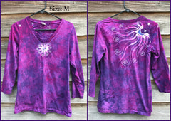 Springtime Happiness Handmade Batik - 3/4 Sleeve Top - Size Medium