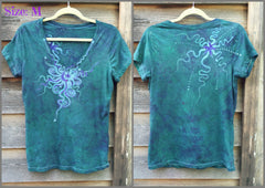 Light Teal Moon Star Handmade Batik Vneck Tee - Batikwalla   - 10
