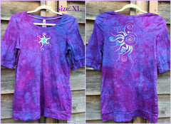 Light Purple and Turquoise Star Sale Basket Top - Batikwalla   - 5