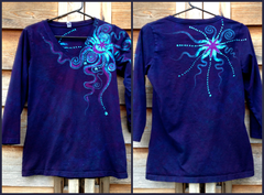 Deep Blue and Purple Moon Star Handmade Batik Vneck Top - Batikwalla   - 3