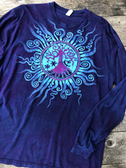 Moonlight Mandala Tree of Life Long Sleeve Organic Cotton Tshirt - Size 2X tshirt batikwalla