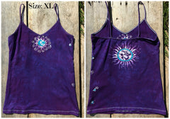 Purple and Turquoise Om Stretchy Batik Vneck Tanktop - Batikwalla   - 7